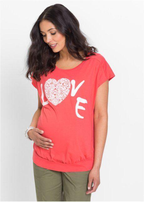 Těhotenské triko s potiskem srdce, bpc bonprix collection, humrová