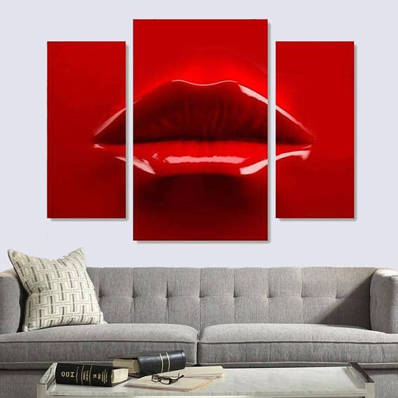 3d Lips Canvas Print Red Lips Art Style 3d Red Lips Art On