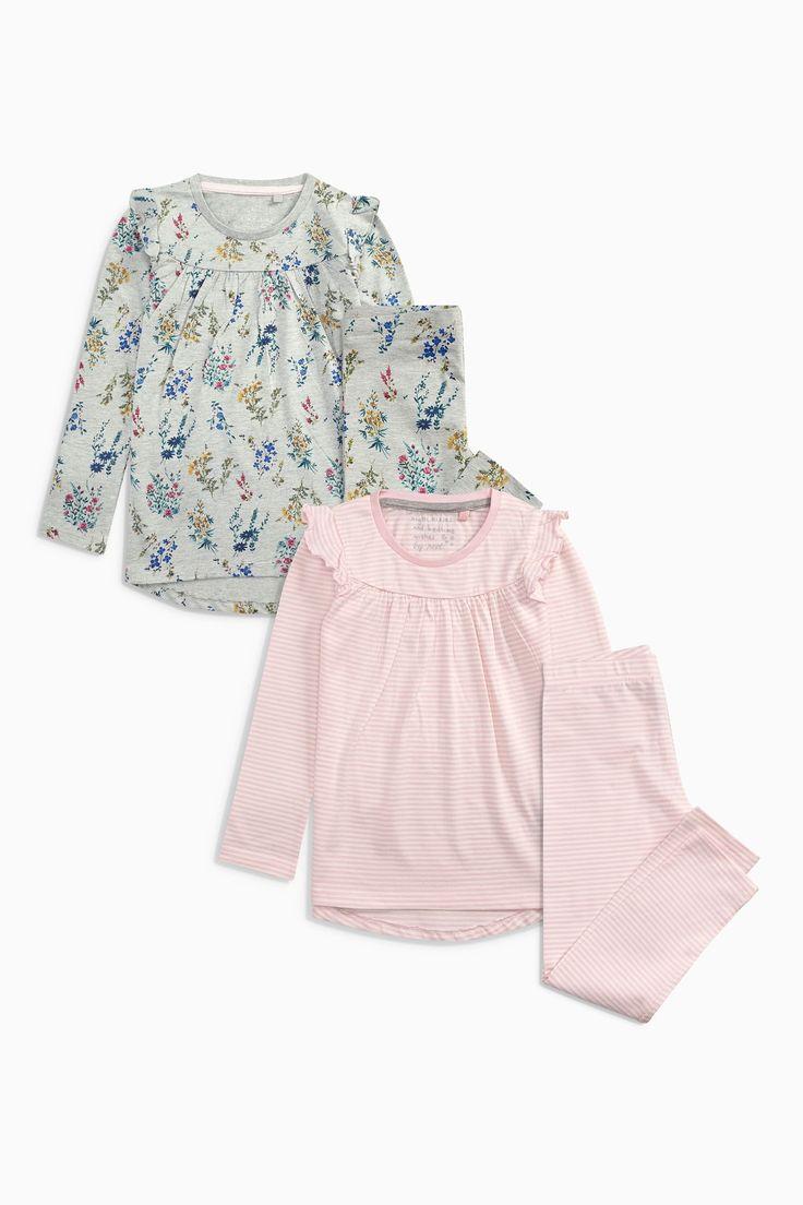 Acheter Rose / Gris manches volantées Pyjamas Two Pack (3-16yrs) à partir de la boutique en ligne Next Royaume-Uni