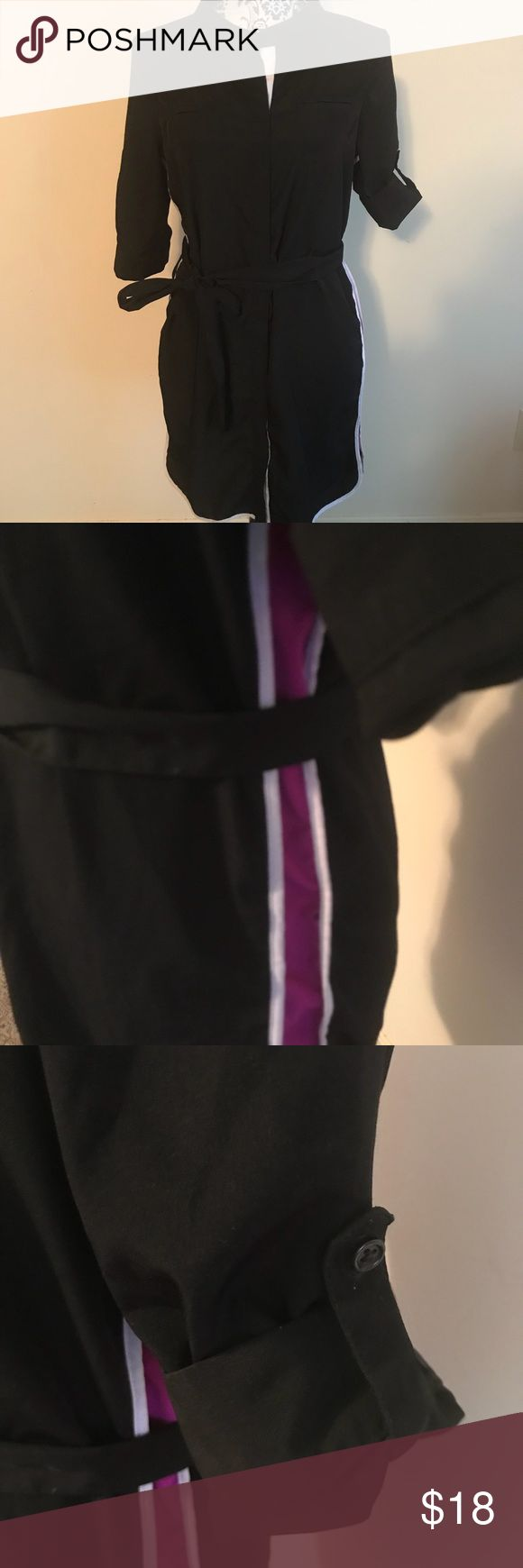 Worthington Petite Dress Black w/ purple & white stripes down sides, tie belt, sleeves and be rolled and buttoned, fake pocket look on chest, buttons are hidden down front, stand up collar, approximate measurements; chest 20, length 34, sleeves rolled 11, unrolled 15, sporty looking Worthington Dresses Midi