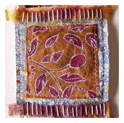 beryl taylor fabric art with tea bags