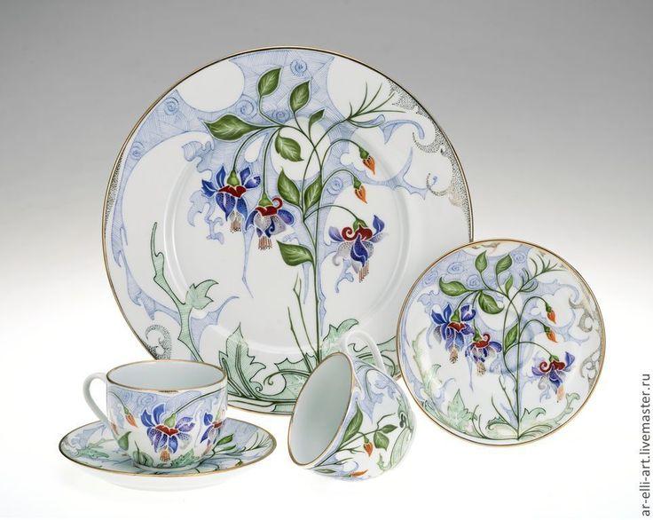 """Купить Фарфоровая чайная пара """"Полдень"""" - разноцветный, фарфоровая посуда, фарфоровая тарелка, ручная роспись"""