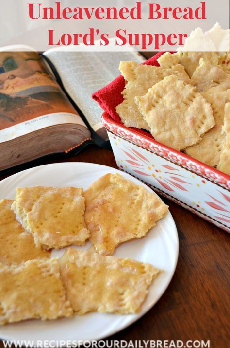 Have you ever wanted to take Communion in the privacy of your home with your family?  Have you ever wanted to have homemade communion bread at church?  If so, this is the recipe for you.  This unleavened bread is really easy to make and taste great.  After we have communion, my kids love eating this bread with honey.  It makes a delicious snack.   http://www.recipesforourdailybread.com/unleavened-communion-bread-recipe/ #unleavened bread #bread #faith #Jesus