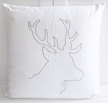 Deer Embroidered Pillow.