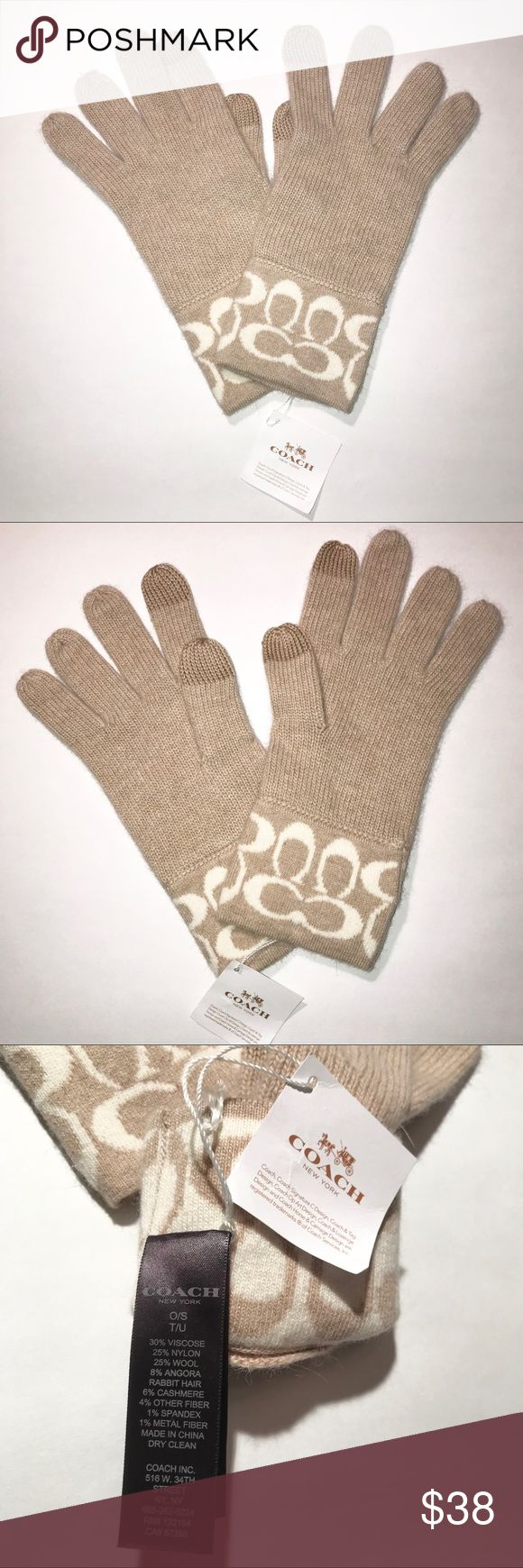 Coach Knit Logo Touch Gloves These New With Tags Coach gloves are cozy and cute in a neutral camel/ivory color combo that goes with everything. Conductive material in the pointer fingers and thumbs lets you use any standard touchscreen device while keeping your hands warm. Material: 30% Viscose, 25% Nylon, 25% Wool, 8% Angora Rabbit Hair, 6% Cashmere, 4% Other Fiber, 1% Spandex, 1% Metal Fiber Color: Camel/Ivory Coach Accessories Gloves & Mittens