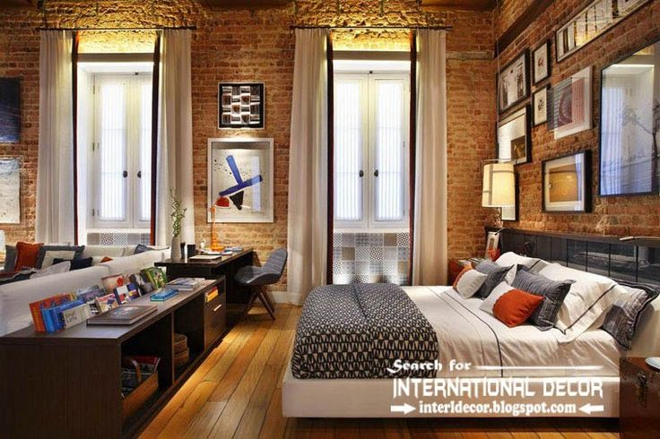 curtains for tall ceilings brick wall Google Search Loft