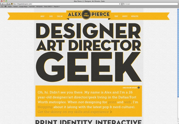TheGeekDesigner.com by Alex Pierce, via Behance