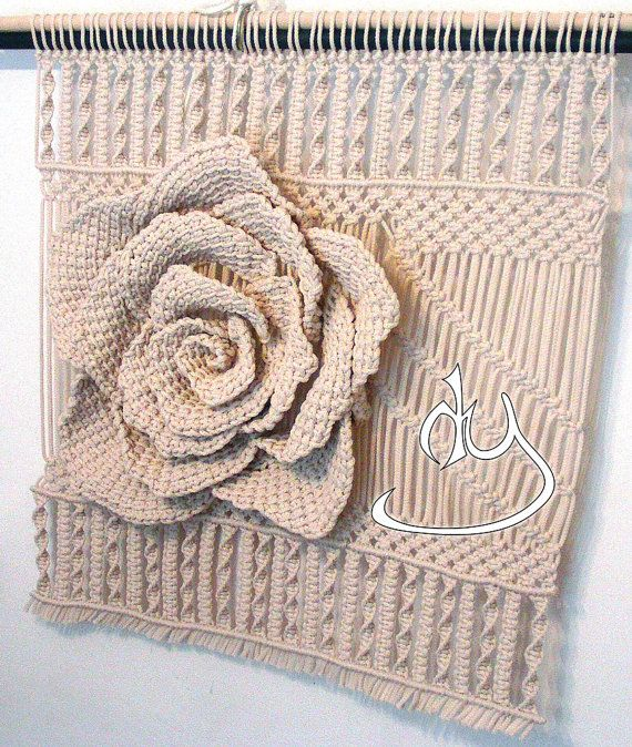 Macrame 3D Rose Wall Hanging and Decor by HandyManiaDesigns
