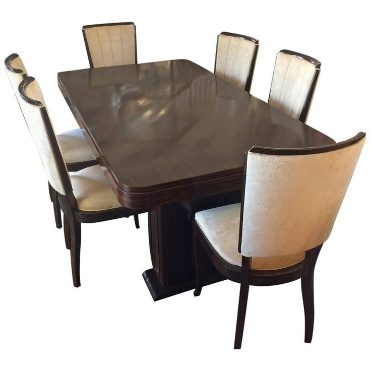 Art Deco French Macassar Dining Suite Including Extensions | From a unique collection of antique and modern dining room sets at https://www.1stdibs.com/furniture/tables/dining-room-sets/