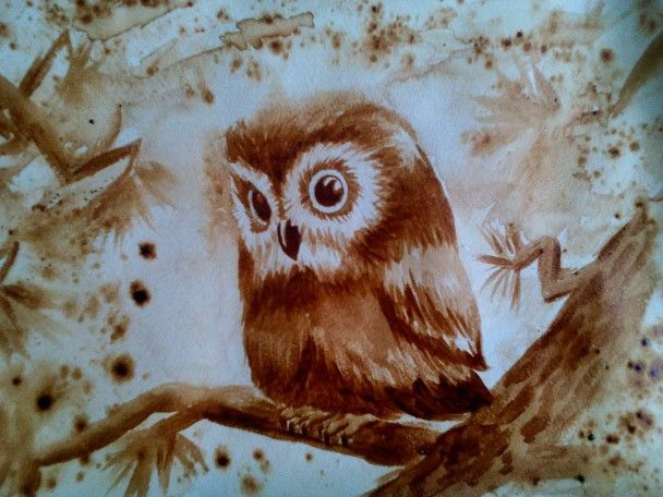 Coffee-painting owl