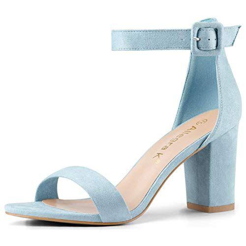 2d3d2bc481 Amazon.com   Allegra K Women's High Chunky Heel Buckle Ankle Strap Sandals    Heeled