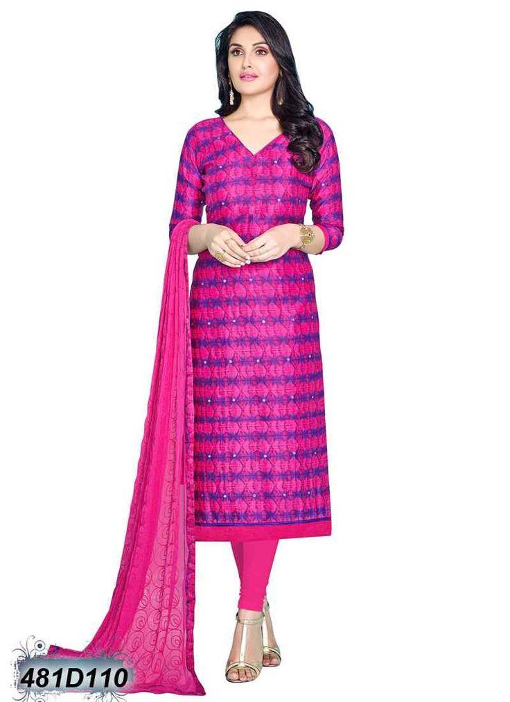 Designer Pink Coloured Glace Cotton Printed Salwar Suit