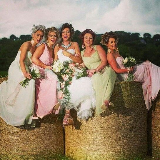 my beautiful and unique bridesmaids- mint, lime, rose, blush on the farm