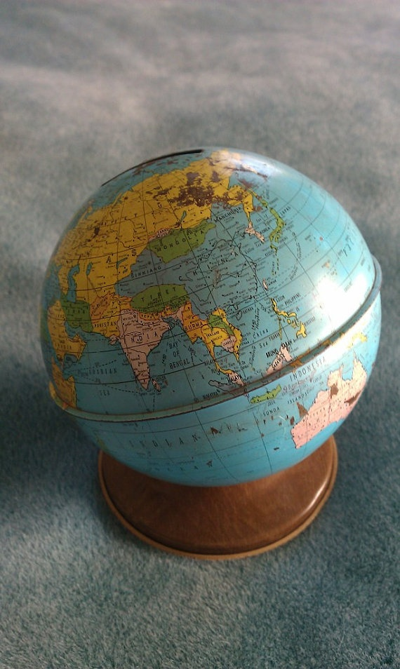 *Sold* MidCentury Globe Piggy Bank by Refindment on Etsy