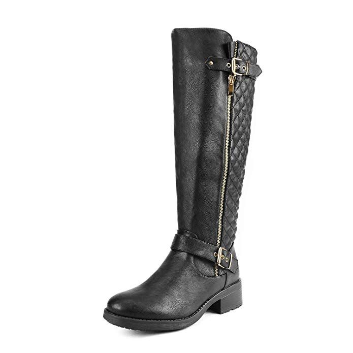 7ffd2c09353 DREAM PAIRS Women s Utah Black Low Stacked Heel Knee High Riding Boots Wide  Calf Size 9