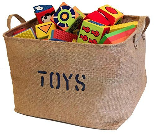 Large Jute Storage Bin, Eco-Friendly for Toy Storage. Storage Basket for organizing Baby Toys, Kids Toys, Baby Clothing, Children Books, Gift Baskets.