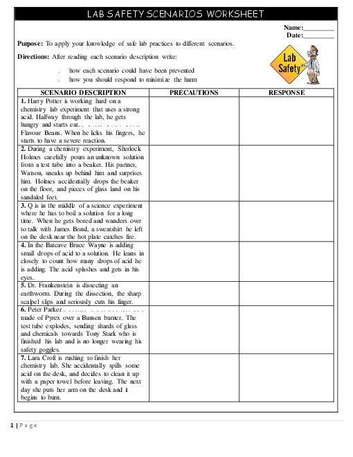 Safety Scenarios Worksheet Handout Teacherlingo Year 7