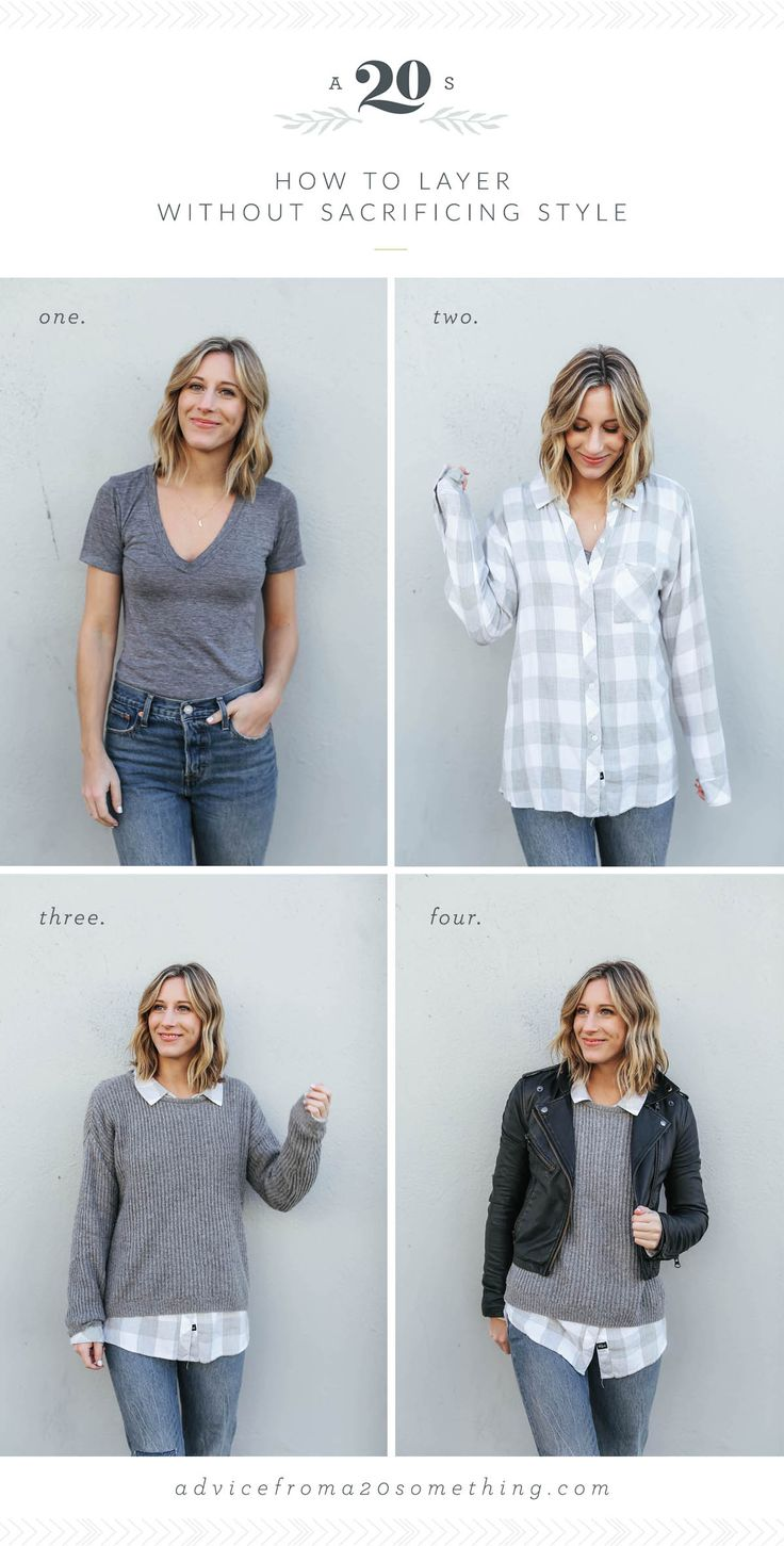 how to layer without sacrificing style, outfit layering ideas, gray tee shirt, plaid button down, gray sweater, black leather jacket, black moto jacket, fall outfit ideas