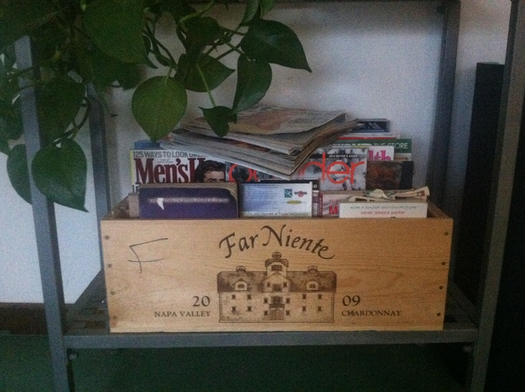 Reuse wooden wine boxes for magazines: Reuse Wooden, Wine Boxes, Wooden Wine