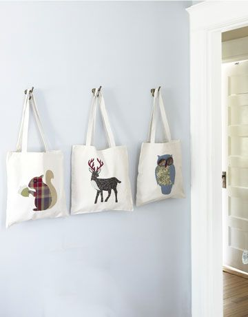 Country Living DIY animal totes! They have stencils available so all you have to do is find cute fabric, cut it out in their pre-formed animals and iron it on with ironing paper. Super cute.