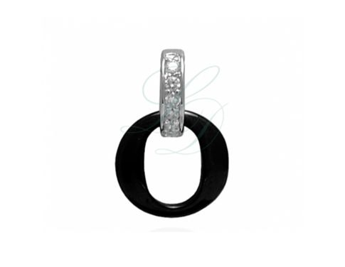 KAROLIN BLACK CERAMIC CHARM - Trendy charm with diamonds made of High-Tech ceramic - LucyDiamonds.cz