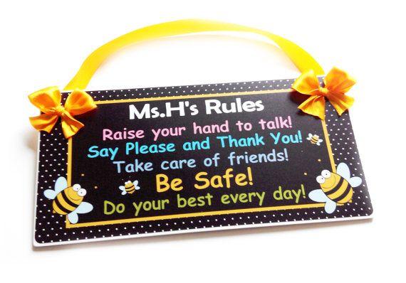 kindergarten rules bee themed teacher classroom decor by kasefazem