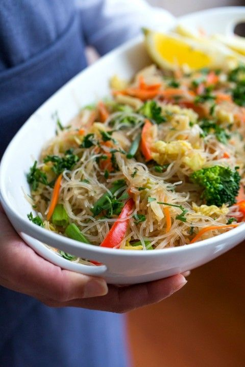 Stir-Fried Cellophane Noodles is known as pancit, a colorful Filipino vegetable-laden noodle dish sure to be a crowd-pleaser. It's as good at room temperature as it is served warm, and can be made a day ahead.  {Vegan}