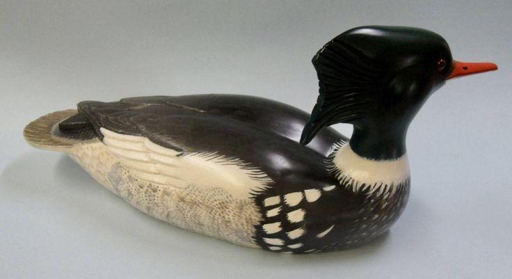 Red breasted merganser carved duck decoy by MarshlandDecoys on Etsy