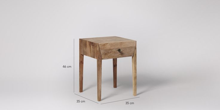 Bedside Table, mid-century modern style in Mango Wood & Charcoal - £129