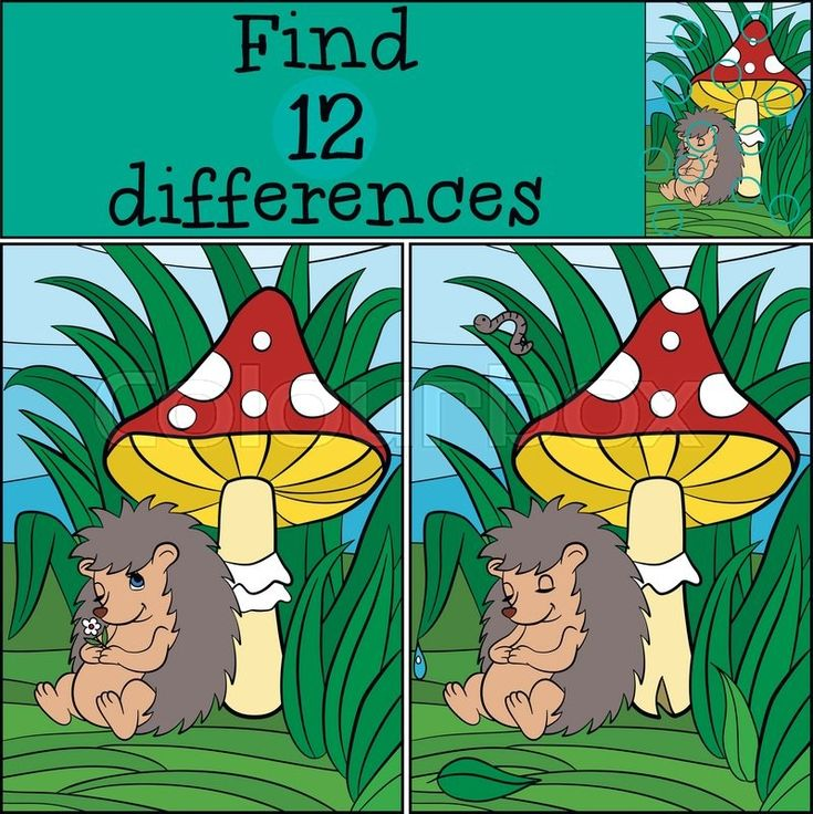 Stock vector of 'Children games: Find differences. Little cute hedgehog sleeps near the huge toadstool.'