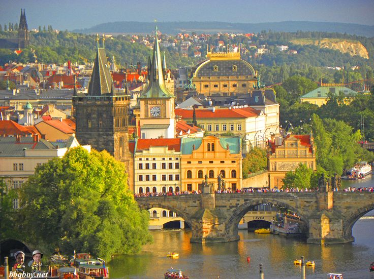 views over charles bridge and old town bridge tower