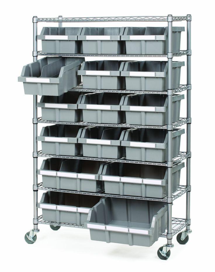 seville classics commercial 7shelf 16bin rack storage system nsf certified garage wall