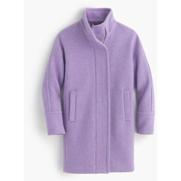 J.Crew Tall Stadium-Cloth Cocoon Coat ($470) ❤ liked on Polyvore featuring outerwear, coats, leather-sleeve coats, fur-lined coats, j crew coats, zip coat and purple coat