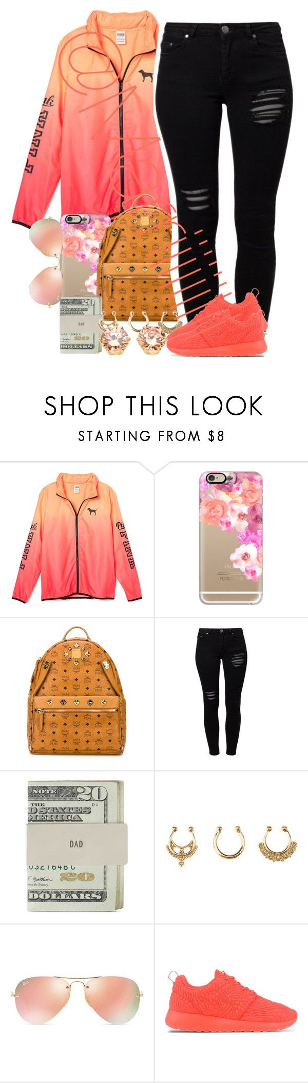 """""""Coral"""" by marriiiiiiiii ❤ liked on Polyvore featuring Casetify, MCM, Gestuz, Jack Spade, Charlotte Russe, Ray-Ban and NIKE"""