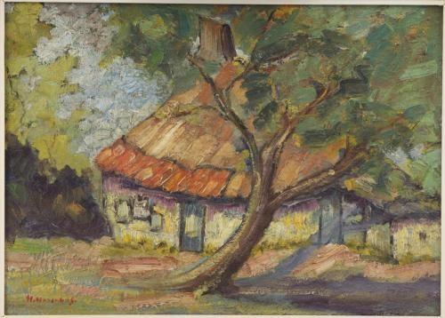 Boerderij met boom - omstreeks 1930, olieverf/paneel, 37 x 50,7 cm, gesigneerd l.o.: H. Hasenbos