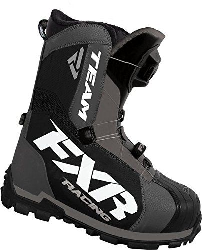 FXR Racing Team Boa Snowmobile Boot Charcoal/black Mens 10  Fixed liner with boa tensioning system Boa single reel tensioning system Boa single reel tensioning system moderate activity rating -60 C Boa single reel tensioning system Boa single reel tensioning system moderate activity rating -60 C Fixed liner Boa single reel tensioning system Boa single reel tensioning system moderate activity rating -60 C Boa single reel tensioning system Boa single reel tensioning system moderate act..