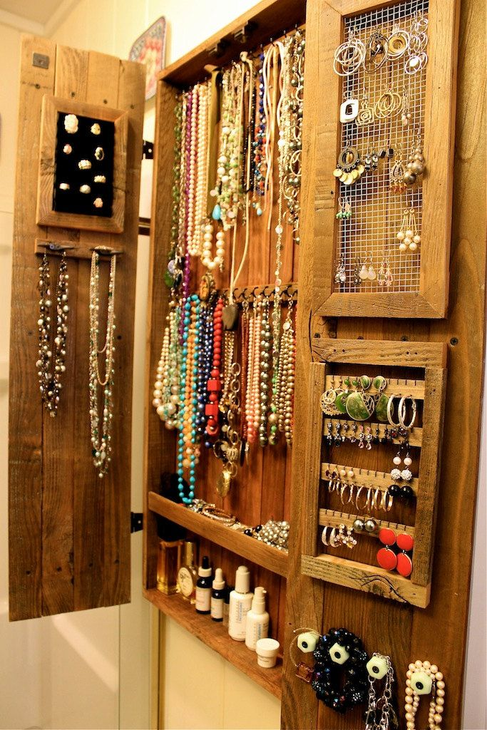 Jewelry Organizer - Organization - Wall Unit - Wooden Cabinet - Jewelry Holder - Necklace Holder - 40 x 18 x 4.5 by honeystreasures on Etsy