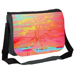 Pink Tree of Life Fantasy Messenger Bag