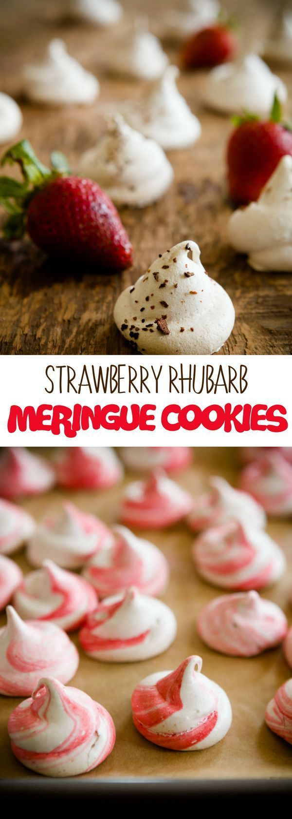 Strawberry Rhubarb Meringue Cookies - sweet delicious dessert recipe perfect for any party! For more simple baking desserts recipes and homemade sweet treats, check us out at #cupcakeproject. #desserts #yummydesserts #recipeoftheday #sweettooth