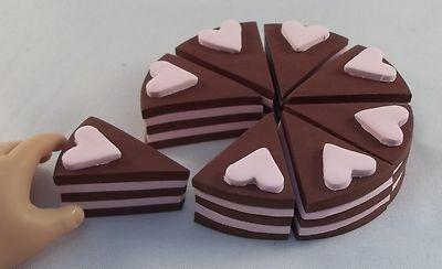 "Cake Round Pink Hearts 8PC Handmade Doll Food for 18"" American Girl Dolls BJD   eBay"