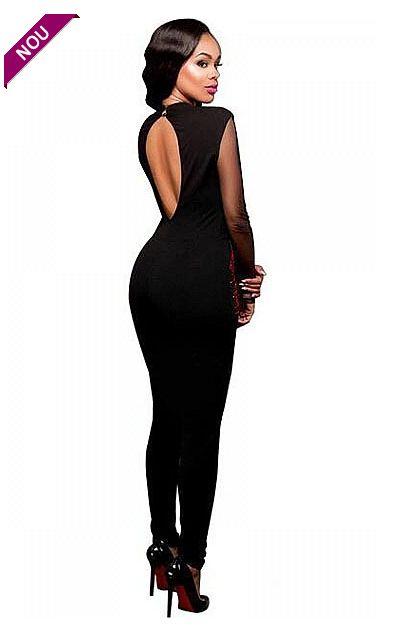 Salopeta eleganta de dama care iti pune in evidenta silueta.  Realizata din combinatii de materiale, se muleaza perfect pe corp.  - decupaj ...