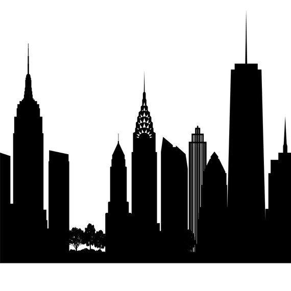 New York Skyline Printable New York Black White Wall Art Etsy In 2021 New York Painting Black And White Wall Art New York Skyline Silhouette