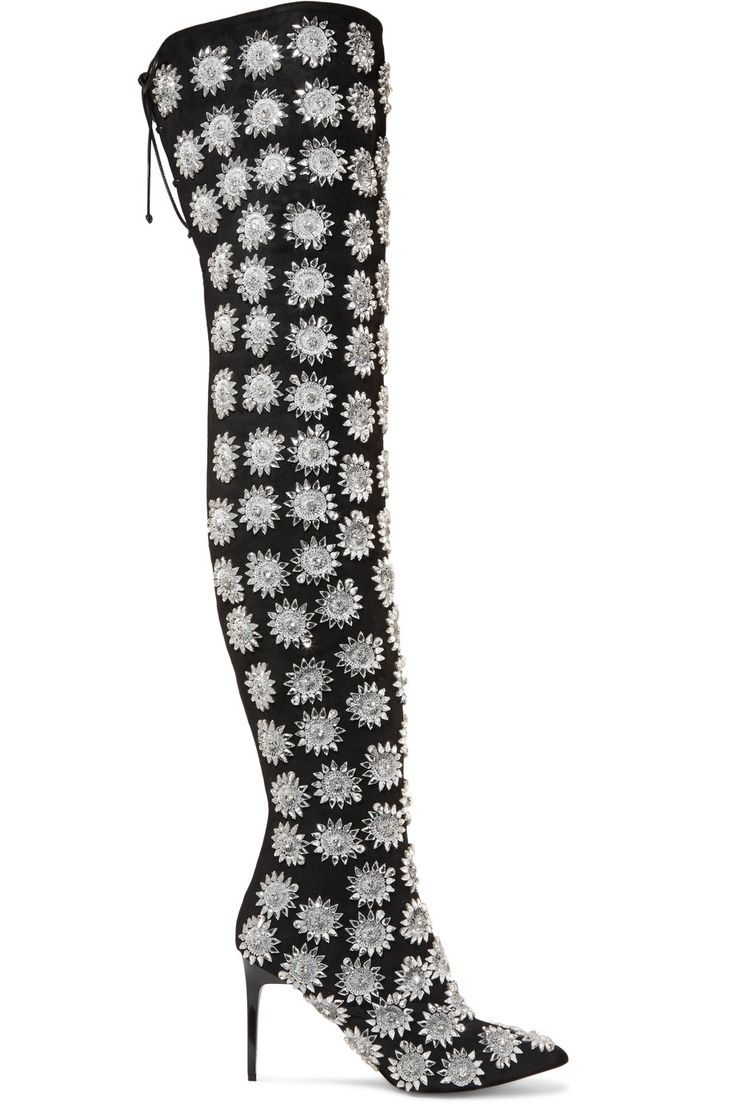 Every runway collection has at least one pair of scene-stealing shoes that you fall for instantly, and at Oscar de la Renta's Fall '17 show it was these thigh boots. Sported by Rihanna at the launch of her beauty line in New York, they have been crafted in Italy from supple black suede and have a slim stiletto heel. They're embellished with scores of sparkling crystals and sequins in a pretty floral arrangement, and can be worn a little slouchy.