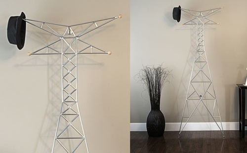Nanton Coat Rack - Designed to look like a giant transmission tower, which is often something regarded as an eyesore, the coat rack celebrates the sculptural design that carries important information from one place to the next — connecting us all.