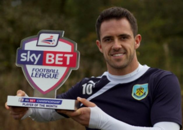 Burnley striker Danny Ings has been named the Sky Bet Championship Player of the Month for October.