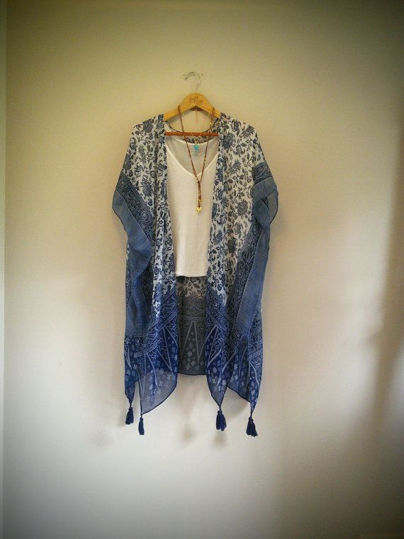 Long bohemian kimono  With tassels  Flower pattern  by NORTHBOHEME
