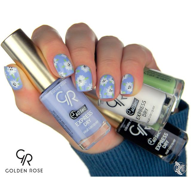 fall in ...naiLove!: Forget-me-not flower nails: tutorial.   Golden Rose Express Dry.