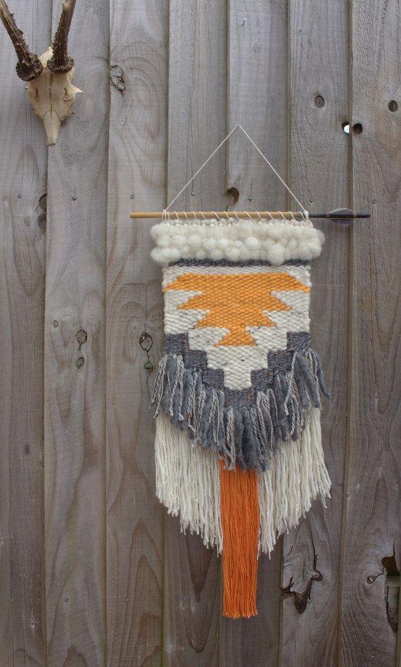 Orange & grey woven wall hanging tapestry / geometric fiber art weaving / hand made / interior décor