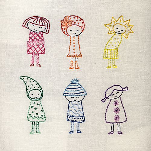 too adorable for words!  cajunmama:  Finished Rainbow Girls (by Wendi Gratz)
