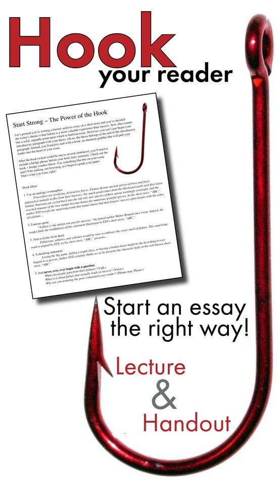 hooks for response to literature essays Students can find hooks in most fiction and non writing hooks--five ways to hook your reader: writing an introduction preview subject literature, writing reports, response to literature, response to informational texts, poetry, persuasive texts, and essays this lesson plan includes.